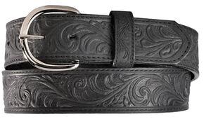 Silvercreek Black Hand Tooled Western Belt, Black, hi-res