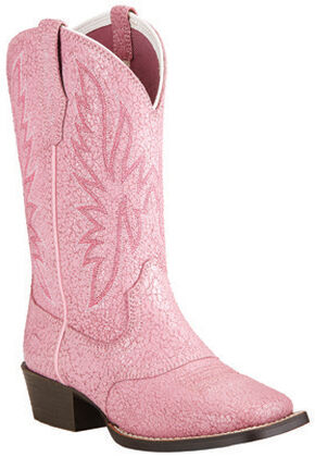 Ariat Girls' Pastel Pink Outrider Cowgirl Boots - Square Toe, Pink, hi-res