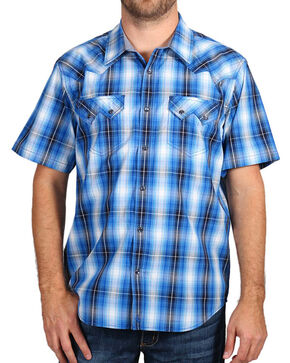 Cody James Men's Western Plaid Short Sleeve Shirt, Blue, hi-res