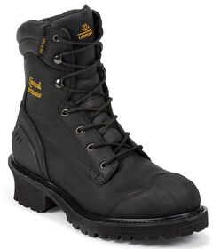 """Chippewa Waterproof & Insulated 8"""" Lace-Up Work Boots - Round Toe, Black, hi-res"""
