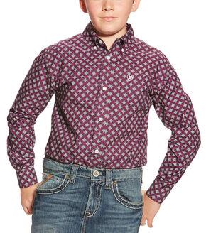 Ariat Boy's Alpine Violet Print Western Shirt, Violet, hi-res