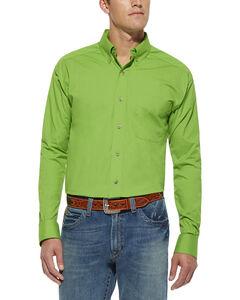 Ariat Green Solid Poplin Shirt, , hi-res