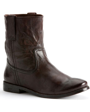Frye Women's Anna Shortie Cowgirl Boots, Dark Brown, hi-res