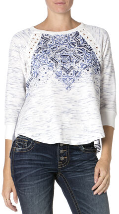 Miss Me Blue and White Print Long Sleeve Shirt, , hi-res