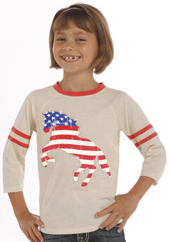 Rock & Roll Cowgirl Girls' Natural American Flag Horse Baseball Tee, , hi-res