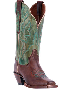 Dan Post Women's Darby Burnished Cowgirl Boots - Square Toe, Chocolate, hi-res