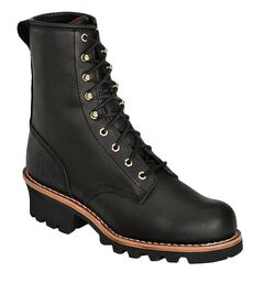 "Chippewa 8"" Lace-Up Logger Boots - Round Toe, , hi-res"
