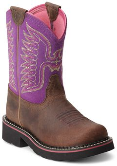 Ariat Youth Girls' Fatbaby Thunderbird Cowgirl Boots - Round Toe, , hi-res