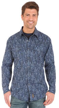 Wrangler Retro Men's Blue Print Long Sleeve Snap Shirt, , hi-res