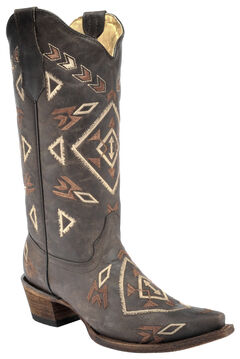 Corral Brown Aztec Cowgirl Boots - Snip Toe  , , hi-res