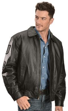 Vintage Leather Black USA Eagle Flag Jacket, , hi-res