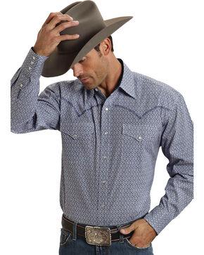 Stetson Men's Navy Print Poplin Western Shirt, Blue, hi-res