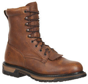 Rocky Original Ride Steel Toe Western Lacer Work Boots, Tan, hi-res