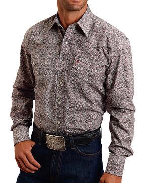 Stetson Men's Allover Print Poplin Long Sleeve Shirt, Black, hi-res