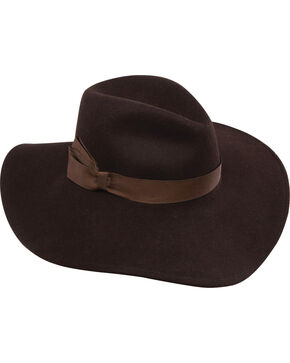 Stetson Women's Lilly Felt Hat, Dark Brown, hi-res