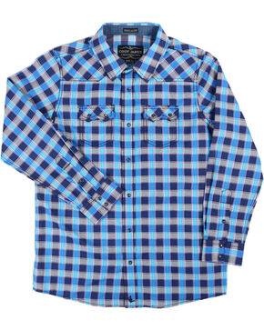 Cody James Boys' Plaid Western Long Sleeve Shirt, Blue, hi-res