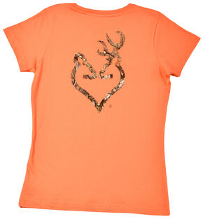 Browning Women's Orange Mo Country Buckmark T-Shirt , Orange, hi-res