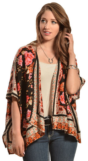Red Ranch Women's Bouquet Kimono, Rust, hi-res