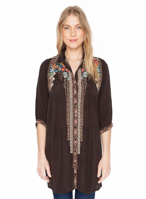 Johnny Was Women's Dark Cocoa Clarissa Shirt Dress , Brown, hi-res