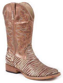 Roper Glittery Zebra Print Faux Leather Cowgirl Boots - Square Toe, , hi-res
