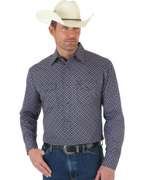 Wrangler George Strait Poplin Print Snap Shirt, Rose, hi-res