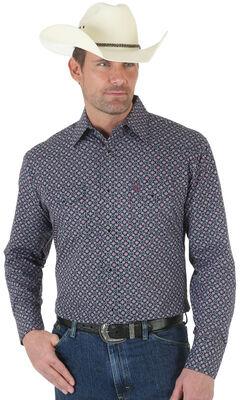 Wrangler George Strait Poplin Print Snap Shirt - Tall, , hi-res