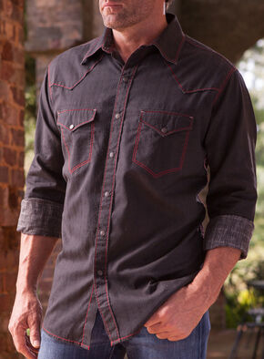 Ryan Michael Men's Black Diamond Stripe Jacquard Western Shirt, Black, hi-res