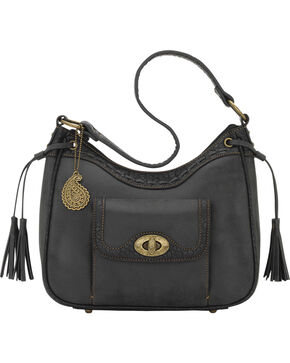 Bandana by American West Guns and Roses Collection Zip-Top Shoulder Bag, Charcoal Grey, hi-res