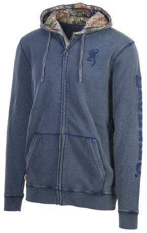 Browning Men's Steel Blue Engelmann Zip-Up Hoodie , Steel Blue, hi-res
