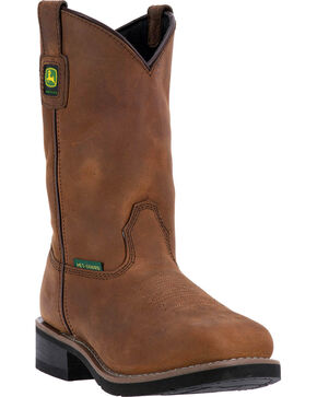 "John Deere Women's 10"" Utility Met Guard Boots - Steel Toe , Brown, hi-res"