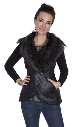 Scully Women's Honey Creek Black Faux Fur Vest, , hi-res