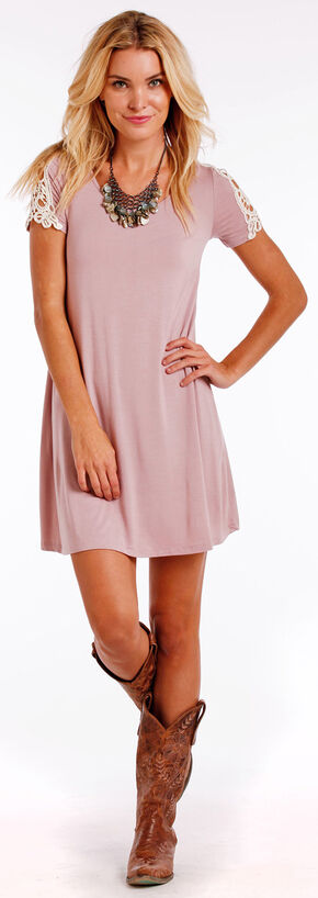 Panhandle Slim Women's Cap Sleeve Lace Inset Swing Dress , Pink, hi-res