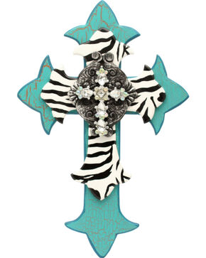 Western Moments Turquoise and Zebra Painted Wall Cross, Turquoise, hi-res