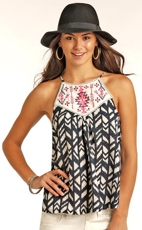 Rock & Roll Cowgirl Women's Navy Sleeveless Printed Chiffon Top, Navy, hi-res