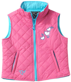 Cowgirl Justice Girls' Toddler Pink Bubble Hearts Quilted Vest , Pink, hi-res