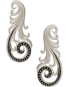Montana Silversmiths Women's Western Lace Whisper Earrings , Silver, hi-res