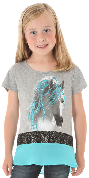 Wrangler Rock 47 Girls' Glitter Horse Short Sleeve Shirt, Grey, hi-res