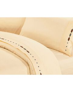 HiEnd Accents Cross Embroidered Cream Sheet Set - King, , hi-res