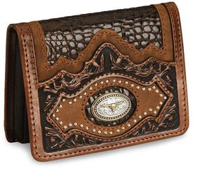 Leegin Longhorn Concho Leather Wallet, Brown, hi-res