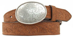Double S Floral Embossed Oval Tooled Buckle Leather Belt, , hi-res