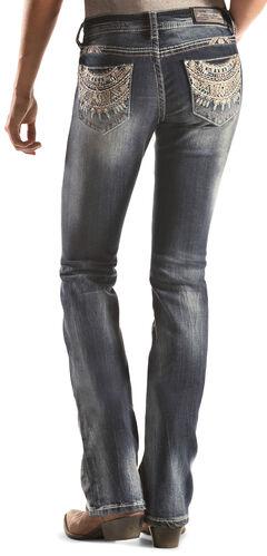 Grace in LA Dark Wash Southwest Pocket Bootcut Jeans , , hi-res