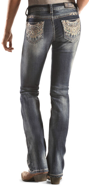 Grace in LA Dark Wash Southwest Pocket Bootcut Jeans , Denim, hi-res