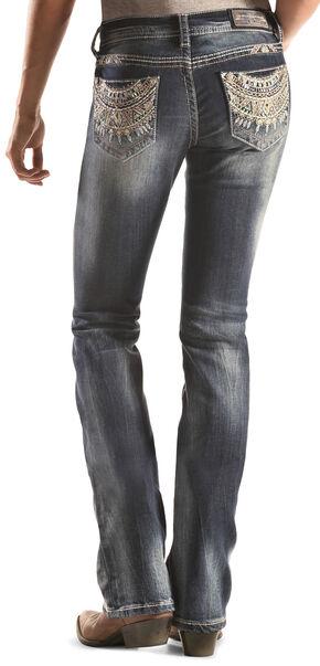 Grace in LA Dark Wash Southwest Pocket Bootcut Jeans , Denim, hi-res