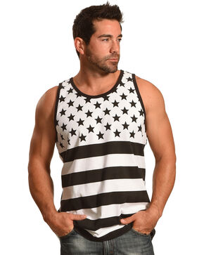 Cody James Men's Black and White American Flag Tank, Black, hi-res