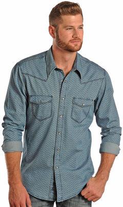 Rock and Roll Cowboy Denim Diamond Print Western Shirt , , hi-res