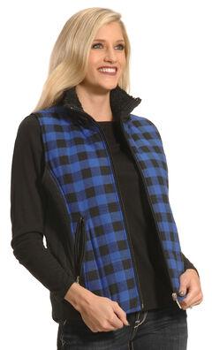 Jane Ashley Women's Blue and Black Plaid Flannel Vest , , hi-res