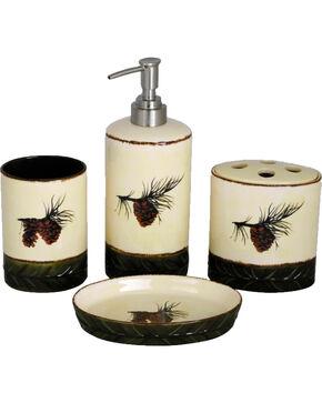 HiEnd Accent Multi Pine Cone Four-Piece Bathroom Set, Multi, hi-res