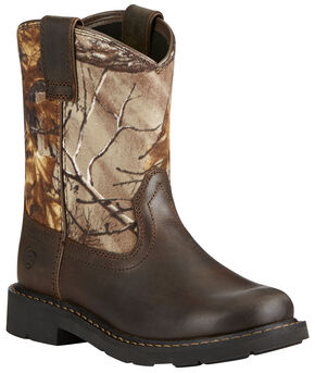 Ariat Kid's Brown Sierra Boots - Round Toe, Black, hi-res