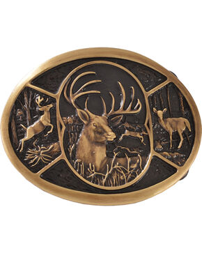 Montana Silversmiths Brass Deer Belt Buckle, Silver, hi-res