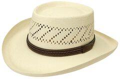 Black Creek Gambler Straw Hat, , hi-res